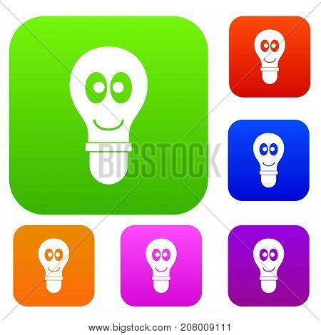 Smiling light bulb with eyes set icon color in flat style isolated on white. Collection sings vector illustration
