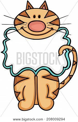 Scalable vectorial image representing a cat blank label, isolated on white.