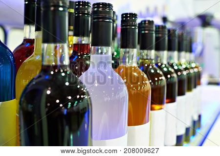 Bottles With Liquors In The Cafe Bar