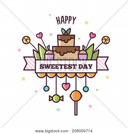 Happy Sweetest Day. Vector illustraton of sweets.