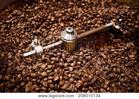 The freshly roasted coffee beans the closeup