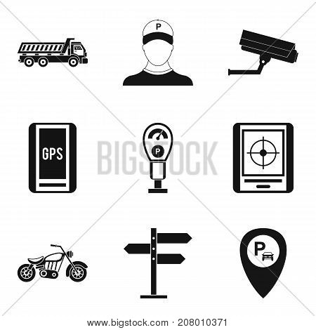 Parking monitoring icons set. Simple set of 9 parking monitoring vector icons for web isolated on white background
