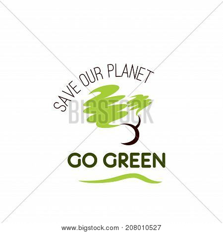Save our planet icon for environment and green nature landscape company template. Vector ecology trees forest, gardens or parkland square and eco woodlands for planting or urban eco-friendly concept