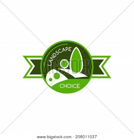 Landscape designing company or horticulture association icon template. Vector design for green city environment and eco gardening nature landscape of parkland square, ecology forest trees and garden