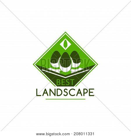 Best landscape and gardening design company icon template. Vector isolated ecology trees forest, gardens or parklands squares and woodlands for planting or urban horticulture and eco environment