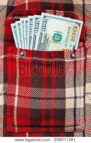 New Dollar Notes In Checkered Shirt Pocket