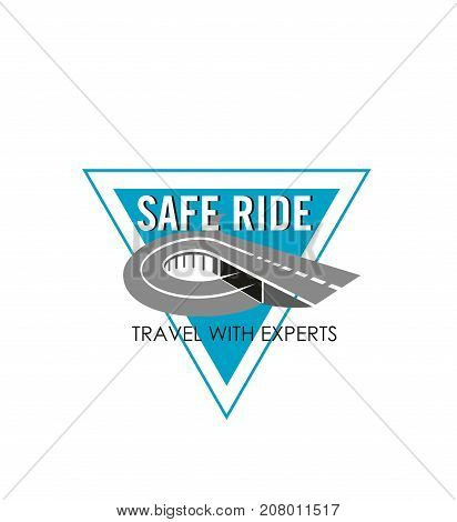 Safe ride road icon for safety construction and highway building company template. Vector design of curved motorway and tunnel or bridge way for repair technology or transportation service
