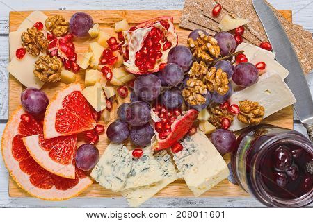 Sliced Refined Cheese And Fresh Fruits, Top View