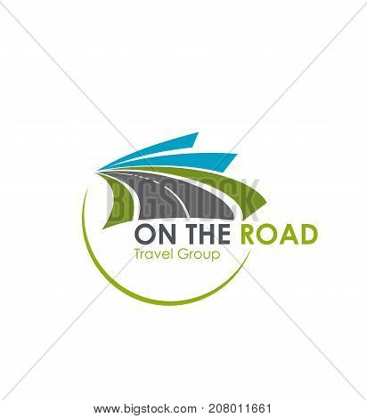 Road travel group vector icons template. Vector badge design of tourism highway lane with marking and winding path for journey transportation company or highway road trip agency