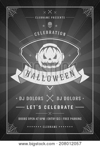 Halloween celebration night party poster or flyer design retro typography vector template. Movie ending screen style background.