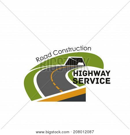 Road safety construction and highway service company icons template. Vector badge design for motorway and tunnel or bridge building and repair technology of road transportation service