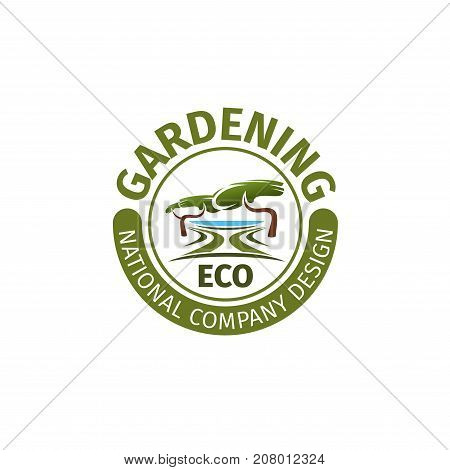 Gardening or eco landscape design national company icon template for urban horticulture and garden planting association. Vector green park and nature landscaping of eco village or woodland