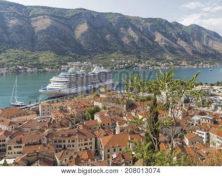 Kotor - September 26 2017: The large white cruise ship