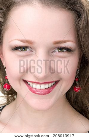 close up portrait of Glamour Beautiful Woman with Healthy and Beauty smile
