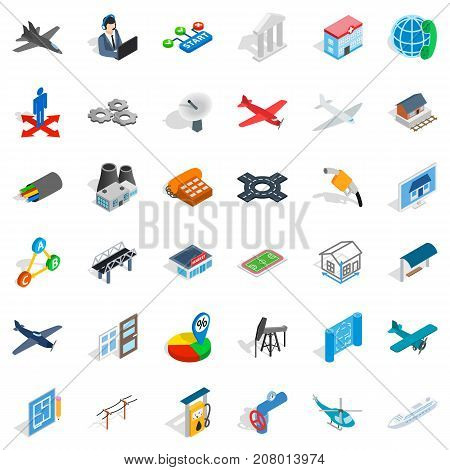 Museum icons set. Isometric style of 36 museum vector icons for web isolated on white background