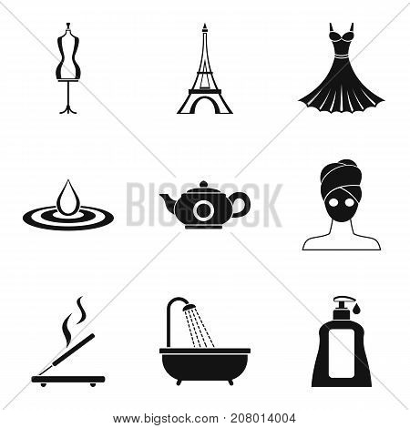 Fashion week icons set. Simple set of 9 fashion week vector icons for web isolated on white background