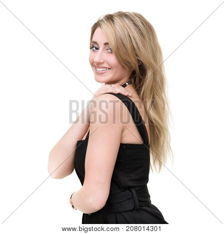 happy woman smiling portrait isolated over a white background