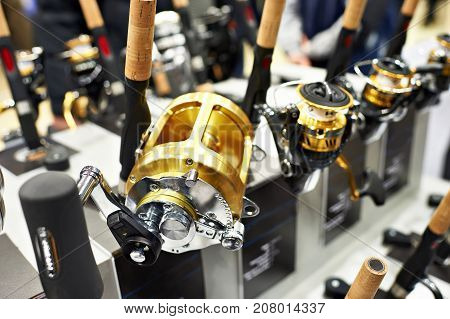 Baitcasting Reel On Fishing Rods In Shop