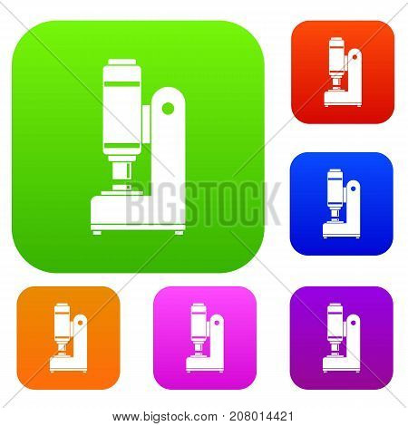 Blacksmith automatic hammer set icon color in flat style isolated on white. Collection sings vector illustration