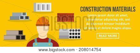 Construction materials banner horizontal concept. Flat illustration of construction materials banner horizontal vector concept for web design