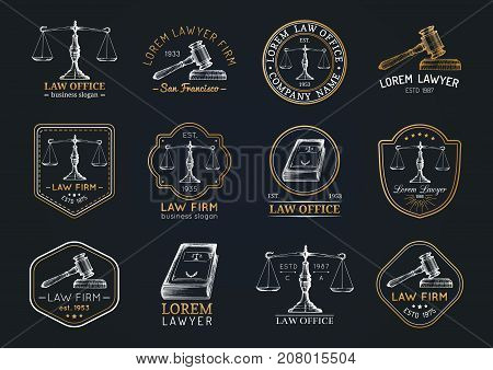 Law office symbols set with scales of justice gavel etc illustrations. Vector vintage attorney advocate labels juridical firm badges collection. Act principle legal icons design.