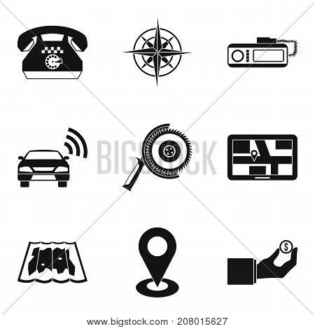 Positioning icons set. Simple set of 9 positioning vector icons for web isolated on white background