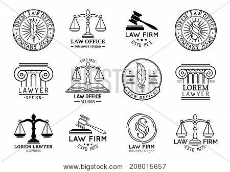 Law office labels set with scales of justice gavel etc illustrations. Vector vintage attorney advocate juridical firm badges collection. Act principle legal icons design.