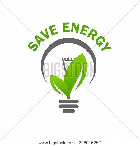 Save Energy eco concept icon for green ecology environment protection and nature saving or conservation. Vector isolated symbol of light lamp bulb and green leaf for electricity technology