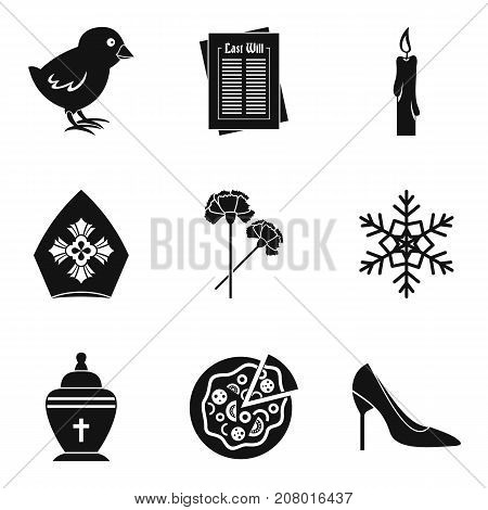 Catholic icons set. Simple set of 9 catholic vector icons for web isolated on white background