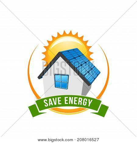 Save Energy green power and natural electricity solar battery on house and sun. Vector eco concept icon for nature protection and recycling energy technology for earth green environment conservation
