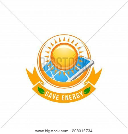Save Energy and green nature power symbol of sun and solar battery eco electricity. Vector ecology environment, earth conservation and electricity technology energy concept icon of green leaf and sun