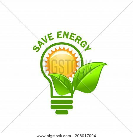 Save Energy symbol of alternative power sources for green electricity technology concept. Vector symbol of sun, green leaf in light lamp bulb for ecology environment conservation and eco green energy