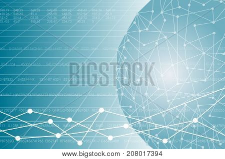 Vector illustration on business theme with block chain elements. Interconnected electronic wallets. The network envelops the planet.