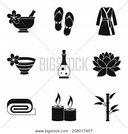 Romantic massage icons set. Simple set of 9 romantic massage vector icons for web isolated on white background