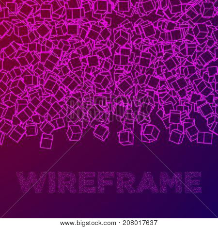 Wireframe Mesh Cubes banner. Connection Structure. Digital Data Visualization Concept. Vector Illustration.