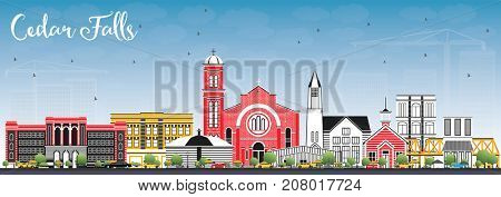 Cedar Falls Iowa Skyline with Color Buildings and Blue Sky. Business Travel and Tourism Illustration with Historic Architecture.