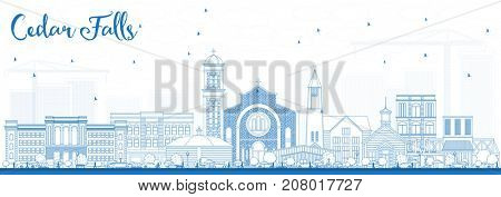 Outline Cedar Falls Iowa Skyline with Blue Buildings. Business Travel and Tourism Illustration with Historic Architecture.