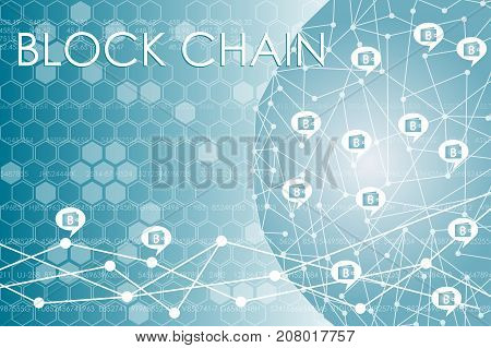 Purses with virtual money are connected in block chain. Vector illustration on business theme.