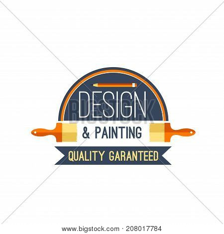 Design and painting work tool icon for house construction, renovation and repair service. Vector isolated symbol of paintbrush, planning pencil and ribbon of handyman carpentry woodwork or plastering