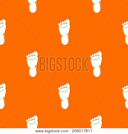 Foot left leg pattern repeat seamless in orange color for any design. Vector geometric illustration