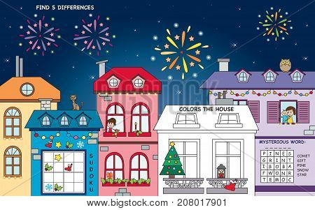 landscape for christmas with four games: find the differences crossword sudoku and color