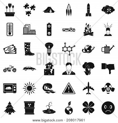 Radiation icons set. Simple style of 36 radiation vector icons for web isolated on white background