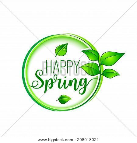 Happy spring icon for holiday greeting card template. Vector design of green leaf and spring season growing tree or floral plant of blooming flower blossom of crocus or daffodil and snowdrop
