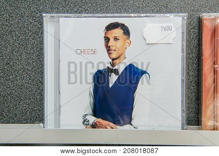 STRASBOURG; FRANCE - OCT 1; 2017: Music record store with audio CD of Stromae; singer on the shelf