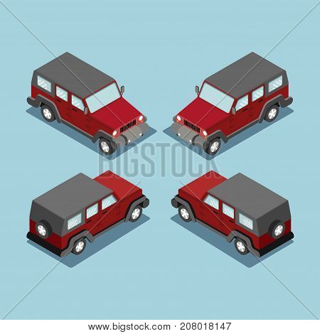 Isometric safari off road car in front top view. Isometric black car cross country vehicle. Isometric car SUV luxury high class. Black car icon. Isometric black car. Isometric vector car. Isolated car