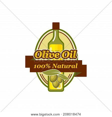 Olive oil icon of green and black olives for natural extra virgin product bottle packing label design template. Best quality organic vector Portugal of Italy and Spain cooking oil symbol