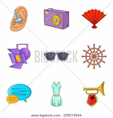 Scene icons set. Cartoon set of 9 scene vector icons for web isolated on white background