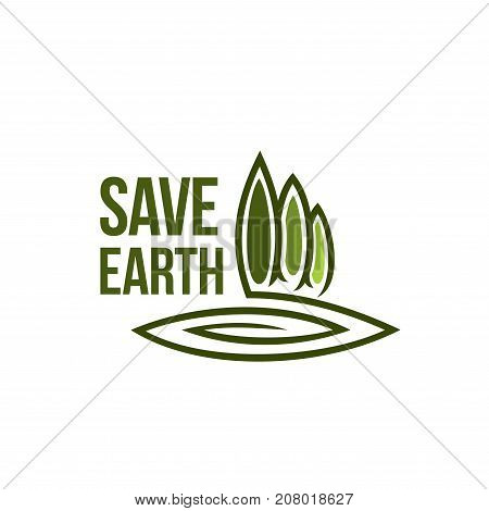 Save earth icon for ecology and green environment association or company template. Vector symbol for eco gardening and nature landscape design of parkland square, forest tree or garden and woodland