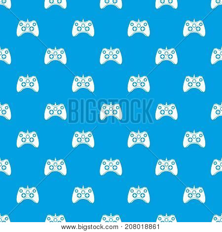 Video game controller pattern repeat seamless in blue color for any design. Vector geometric illustration
