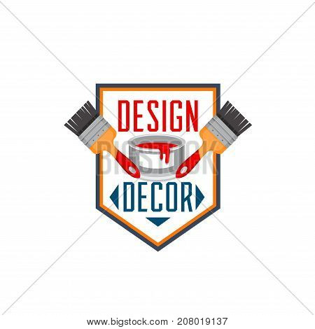 House decor design and home renovation construction shop or handyman repair service icon template. Vector work tool symbol of paintbrush and interior paint splash drops in bucket